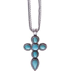 J West and Company Women's Silver Chain with Turquoise Cross Necklace