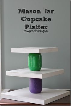 #ad Use mason jars to create a 3 Tier Cupcake Platter #craftyjars