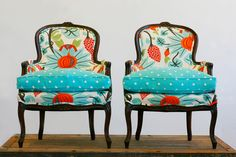 For major pattern pop, this Pair of Antique Bergere Armchairs ($6,000) is an excellent choice. The chairs are also eco-friendly, having been reconstructed with