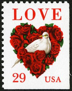 Heart-shaped roses and a dove on this Valentine's Day and wedding invitation stamp issue from 1994.