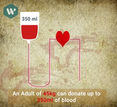 An Adult with 45kg can Donate Blood of 350ml #MobileApp #DoWhistle #BloodDonor