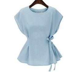 Plus Size Summer Tops Vintage Sleeveless Women Blouses 2017 Solid Peplum Top Elegant Side Lace Up Shirt Women Blusas Feminina