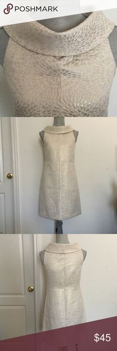 MICHAEL Michael Kor dress Stunning sleeveless wide neck collar dress with a side zipper.   NWOT. Color is champagne gold and cream. One slight light marking on left armpit (see last pic). Not really noticeable unless you're looking up close to it. MICHAEL Michael Kors Dresses
