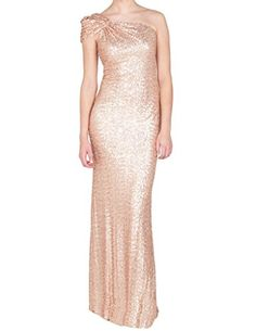 Cdress One Shoulder Sequins Prom Evening Dresses Wedding Bridesmaid Party Gowns Rose_Gold US 8 ** Click on the image for additional details.