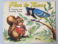 Vintage 1952 Children039s FUN TO TRACE AND COLORING BOOK Saalfield Publishing