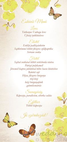 Menu with yellow orchids and butterflies by Wedding Design - Menü sárga orchideákkal és pillangókkal a Wedding Designtól