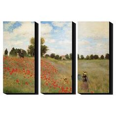 "Artist-grade canvas triptych reproduction of Field of Poppies by Claude Monet.  Product: Set of 3 wall artConstruction Material: Cotton canvas and woodFeatures:  Printed with the highest quality pigment inksUV protective coatingArt by Claude Monet Dimensions: 27"" H x 12"" W x 1.5"" D eachCleaning and Care: Clean with water and damp cloth"