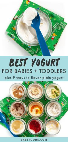 A comprehensive guide on the Best Yogurt for Babies and Toddlers - when can you start serving yogurt, which brands are the best, ingredient list breakdown and how to serve yogurt to baby. PLUS - 9 delicious ways to flavor plain yogurt! #baby #yogurt #toddler #babies #best Picky Toddler Meals, Healthy Meals For Kids, Toddler Dinners, Toddler Lunches, Toddler Food, Homemade Yogurt, Homemade Baby Foods, Snacks Homemade, Baby First Foods