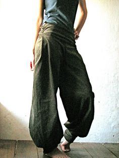 Army green corduroy harem pants. Hmmm I'd maybe ware these around the house