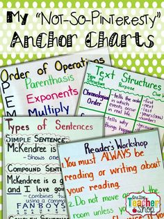 "My ""Not-So-Pinteresty"" Anchor Charts.  A collection of Anchor Charts by One Stop Teacher Shop!  For 5th grade Math, Reading, Writing, & Grammar."
