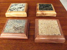 Granite coasters, inlaid in wood