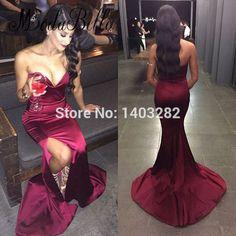 Sexy Cheap Long Evening Dresses Wine Red Mermaid Party Dress With Slit Sweetheart Sleeveless Formal Gown Avondjurken Gala Jurken