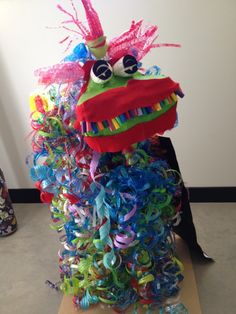 recycled water bottle Chinese dragon made by kindergarten through 6th grade students from Kendall-Whittier Elementary School