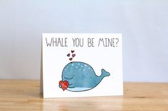 Funny Valentine. Whale You Be Mine Ocean. by ClaireLordonDesign, $4.00