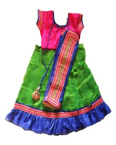 Colourful Green, blue and marroon Half saree size : 3 year - 4 year prince: Rs 1175 Free shipping all over India  http://www.princenprincess.in/index.php/home/product/391/Pink%20blue%20and%20green%20half%20saree