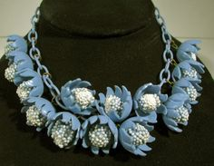 """Vintage Bakelite Era 16"""" BLUE PLASTIC FLOWER NECKLACE Celluloid Plastic Chain"""