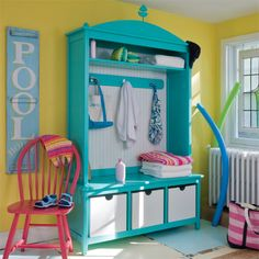 cute organization and fun summer mud room....Bethany Beach Arched Locker from PoshTots