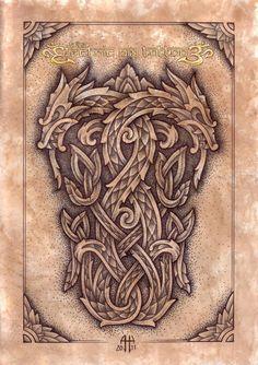 by Ash Harrison - Celtic Knotwork Dragons pencil,pen on paper - digital back ground Celtic Knotwork Dragons Arte Viking, Viking Art, Celtic Dragon Tattoos, Viking Tattoos, Viking Dragon Tattoo, Wiccan Tattoos, Viking Designs, Celtic Designs, Body Art Tattoos