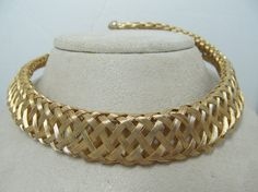 1970s80s Gold Tone Mesh Collar Necklace by KittyCatShop on Etsy, $14.99