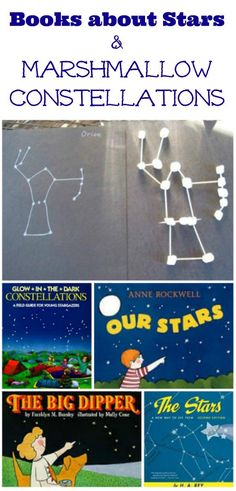 Learn about the night sky with these great books and then make marshmallow constellations -- a fun Astronomy activity for kids!