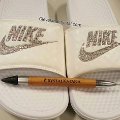 SWAROVSKI Nike slides by gurlbuy on Etsy https://www.etsy.com/listing/278148428/swarovski-nike-slides