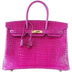 Hermes Birkin 35 Bag Pink Rose Scheherazade Porosus Crocodile Gold... ($95,000) ❤ liked on Polyvore featuring bags, handbags, hermès, pink bag, rose purse, croco handbag and croc purse