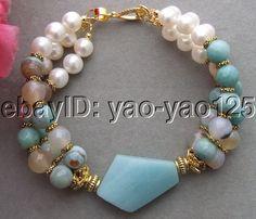 R092115 3Strds Pearl&Amazonite&Agate Bracelet #Handmade #Beaded
