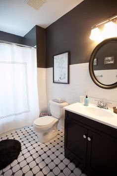 When you decide to color block your retro, eclectic bathroom using these two shades, you will never go wrong. If you have tile, keep that in its original shade of white and add the black to the walls for a textural, artistic look!