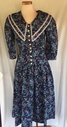 Vintage 80s Eber San Francisco Western Prairie Dress Cowgirl Retro Sz 9 Cotton #Eber