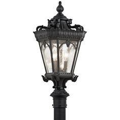 Kichler Tournai 3 Light 27  Tall Single Outdoor Post Light with Seedy Glass Panels - Black