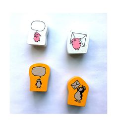 Japanese Kawaii Little Penguin & Pig Rubber Stamp - Happy planner - Scrapbook - Mail - Journal. by niconecozakkaya on Etsy