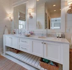 When many people choose to engage in beach house decor, the first rooms they often think of are the bedrooms or living rooms. It's easy to o. Coastal Bathrooms, Beach Bathrooms, Coastal Living Rooms, Beach House Bathroom, Small Bathroom, Master Bathroom, Bathroom Ideas, Bronze Bathroom, Wooden Bathroom