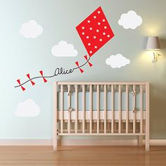 'Personalised Kite And Clouds' Wall Sticker - Crux Baby