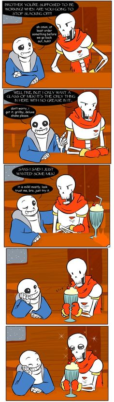 """Continuing with the last comic, the patron then said """"Yes, his brother. Papyrus. He always orders a glass of milk... He says it's 'full of strong bones.'"""" At which point Jaz suggested THIS and ugh ..."""