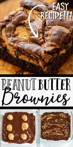 Our peanut butter brownies are baked with cocoa powder, sugar, mini peanut butter cups, and vanilla. Then peanut butter is swirled into the batter right in the pan before baking. Mini Desserts, Just Desserts, Delicious Desserts, Brownie Desserts, Baking Recipes, Cookie Recipes, Homemade Brownie Recipes, Easy Homemade Brownies, Brownie Mix Recipes