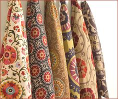 Calico Corners has a couple of new fabric lines out. My new favorites include ikat and suzani prints! The ikat prints range in price from. Suzani Fabric, Textile Fabrics, Textile Patterns, Textile Design, Print Fabrics, Upholstery Fabrics, Modern Patterns, Fun Patterns, Vintage Patterns