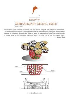 #IDEA #2, #JevgeniSvedBOCADOLOBO, Second idea:  ZEBRA/HONEY DINING TABLE