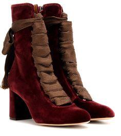 GABRIELLE'S AMAZING FANTASY CLOSET | Nina Ricci Harper Bordeaux Velvet Lace-Up Boots |