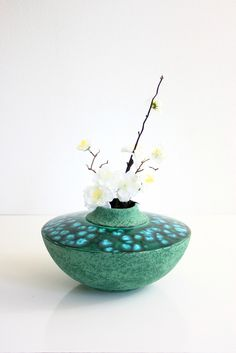 Mid Century Modern Studio Pottery Vase / Vintage Turquoise and Emerald Green Vase