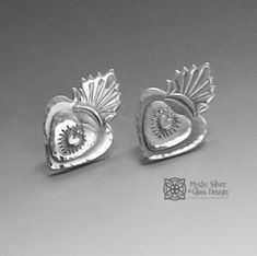 Measures x Sacred Heart, Oxidized Sterling Silver, Glass Design, Mystic, Posts, Free Shipping, Personalized Items, Studio, Usa