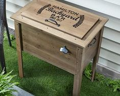 All weather 48-QT Rustic Cedar Chest Cooler Stand with Brass | Etsy Wood Cooler, Cooler Cart, Patio Cooler, Cooler Stand, Outdoor Cooler, Pallet Cooler, Cool Gifts, Unique Gifts, Outdoor Bar Cart