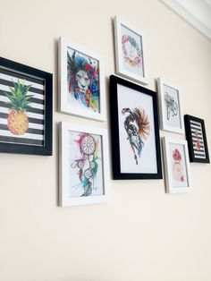 Gallery wall decor idea #gallerywall #walldecor #wall #frames #pineapple #dreamcatcher #monogram #chanel #art #gallery