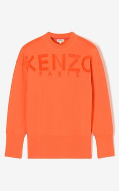 KENZO Logo Embroidered Sweatshirt, MEDIUM ORANGE, KENZO
