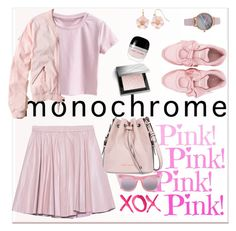 """Monochrome:  Head-to-Toe Pink"" by ellie366 ❤ liked on Polyvore featuring Marc Jacobs, Burberry, 2NDDAY, Puma, Armani Jeans, Hollister Co., Vivani, Le Specs, LC Lauren Conrad and GALA"