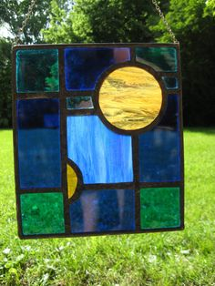 Rectangle Stained Glass panel: blue, green and yellow(ish)