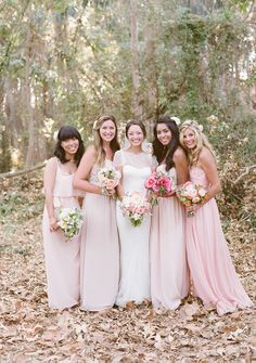 blush chiffon flowy bridesmaids dresses including the Dani Long from Ceremony by Joanna August