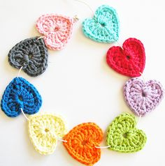 colourful crochet hearts