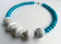 Paper necklace painted in blue ♥ by VasariahCreations on Etsy, €27.00