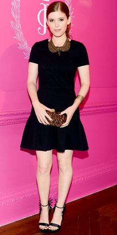 Mara previewed Juicy Couture's latest collection in the label's drop-waist LBD, a Dannijo necklace, a sparkling Edie Parker minaudiere and raffia Brian Atwood heels.