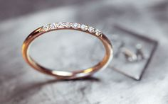 Diamond Ring Wedding Band - 8 Pave Set Diamond Ring - 14k Gold Wedding band with Diamonds